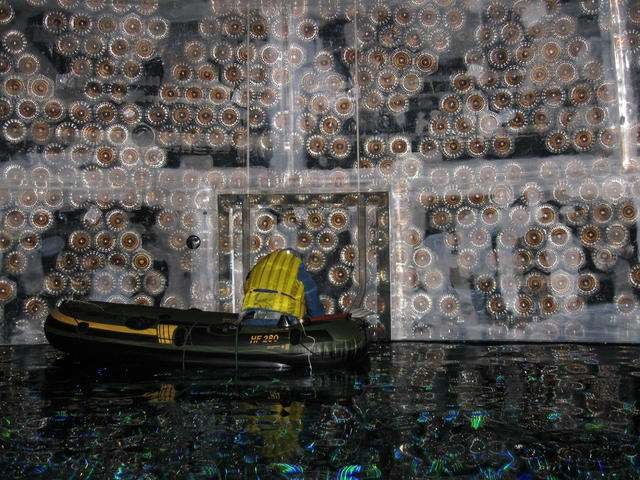 A scientist works inside the SNO+ detector at SNOLAB (image via SNOLAB)